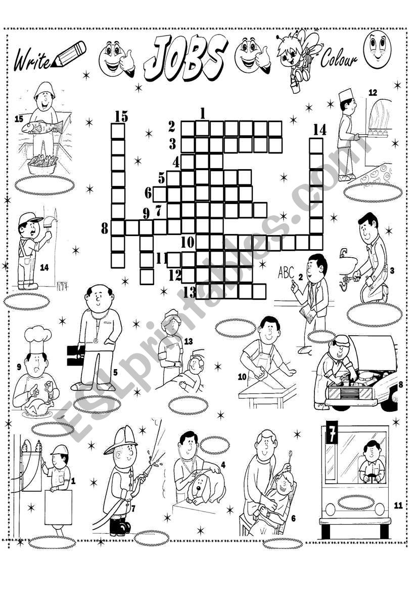 English worksheets: jobs crossword