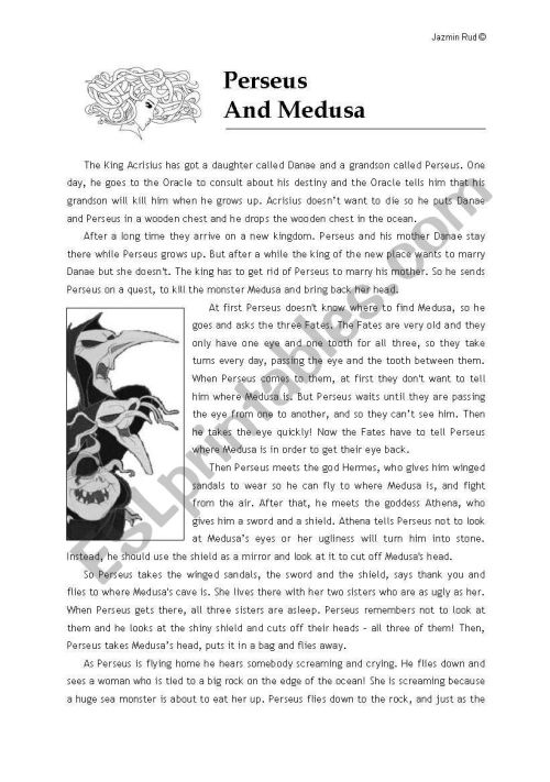 small resolution of Perseus and Medusa´s Myth - ESL worksheet by jazchulinchu
