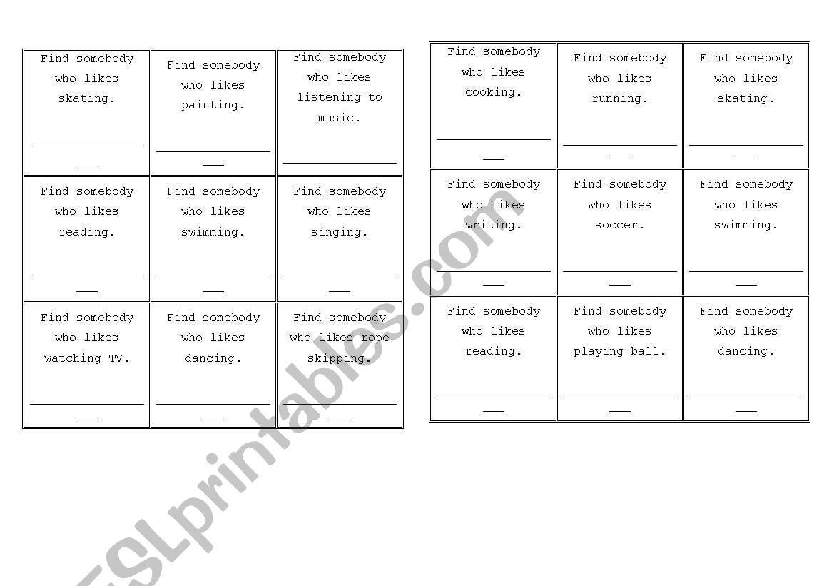 English Worksheets Hobbies People Bingo