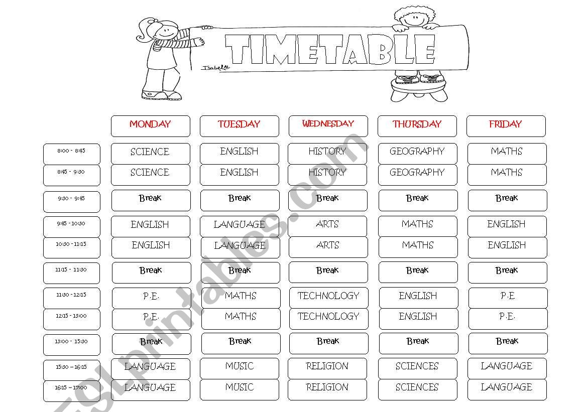 Subjects And Timetable