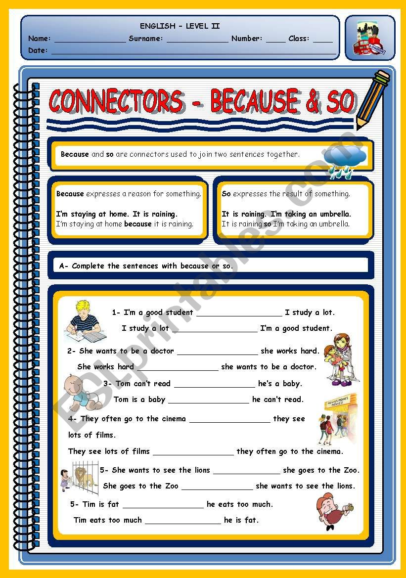 medium resolution of CONNECTORS - BECAUSE \u0026 SO - ESL worksheet by xani