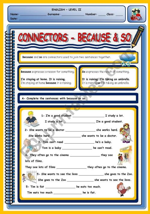 small resolution of CONNECTORS - BECAUSE \u0026 SO - ESL worksheet by xani