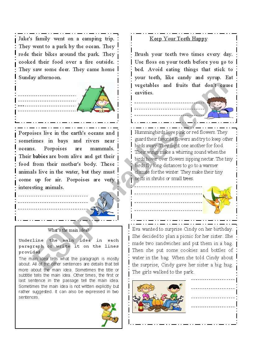 medium resolution of Extracting the main idea - ESL worksheet by cacucacu