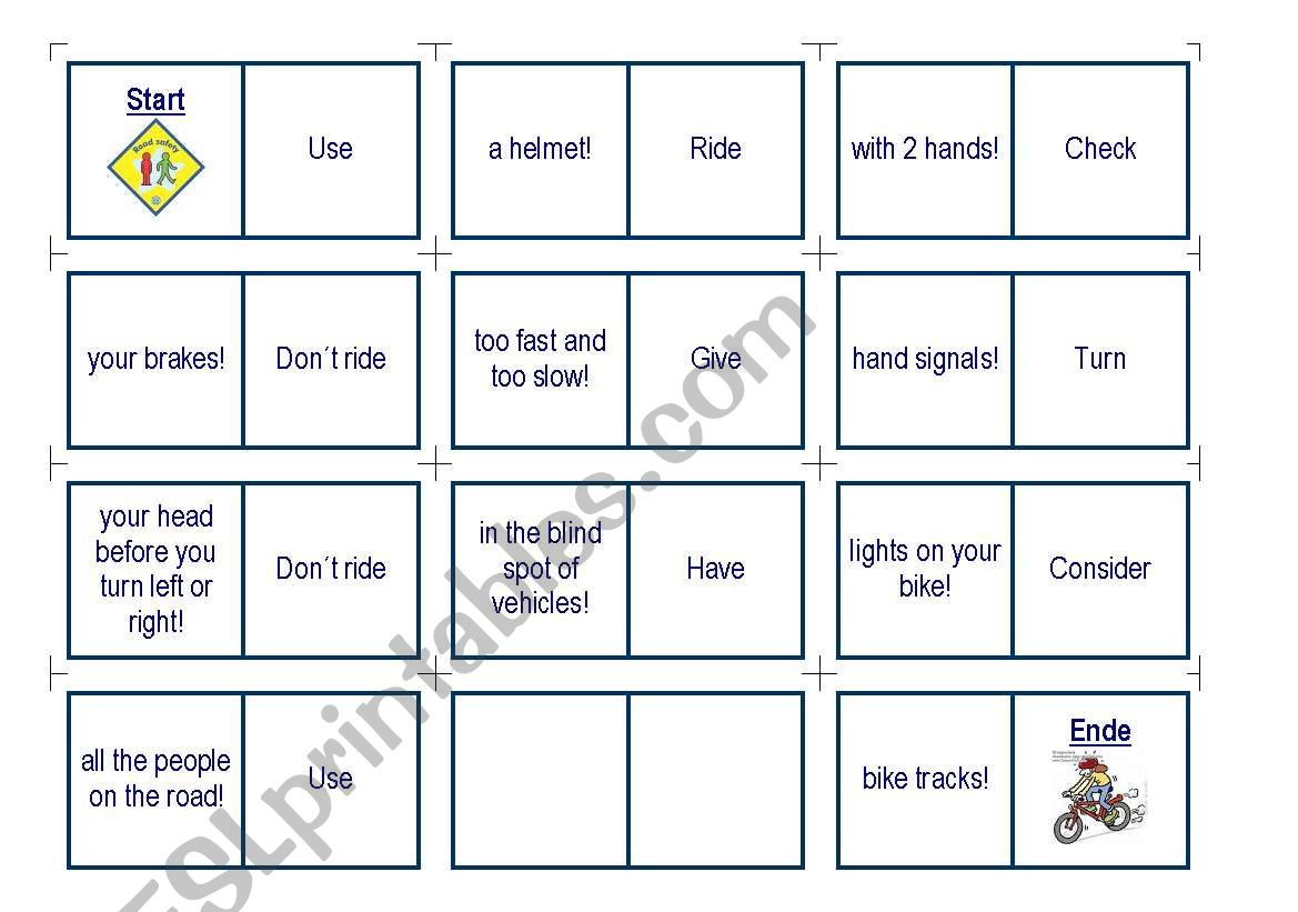 English Worksheets Road Safety Domino