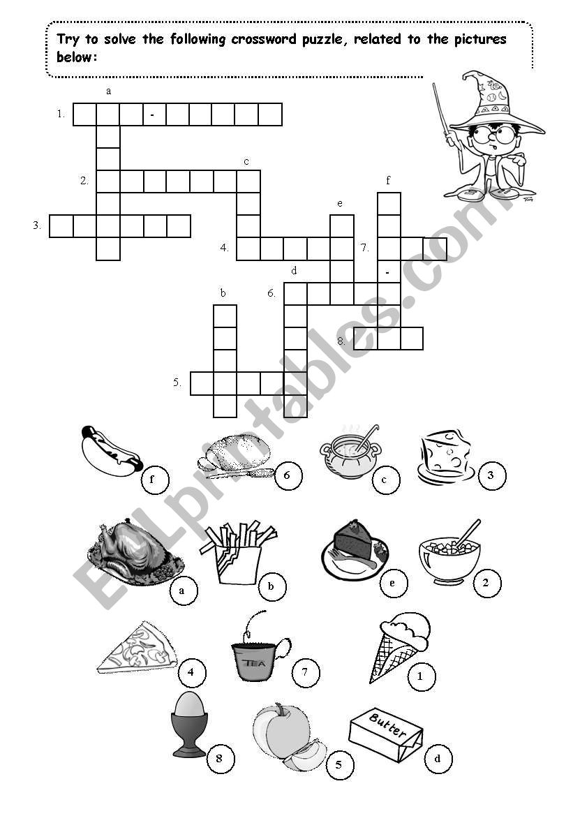 English worksheets: Food (crossword puzzle)