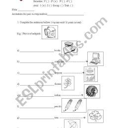 English test - 5th grade. Demonstrative pronouns - ESL worksheet by Saiane [ 1169 x 821 Pixel ]