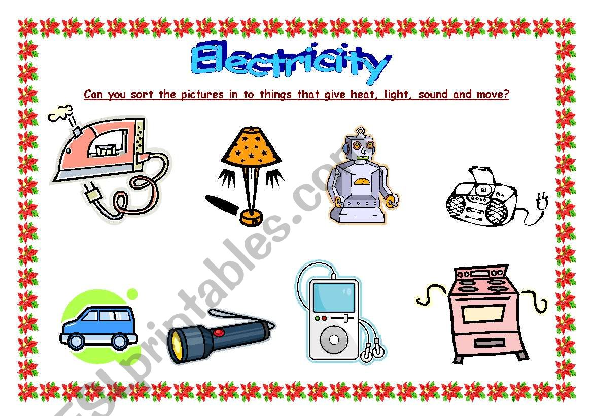 English Worksheets Electricity