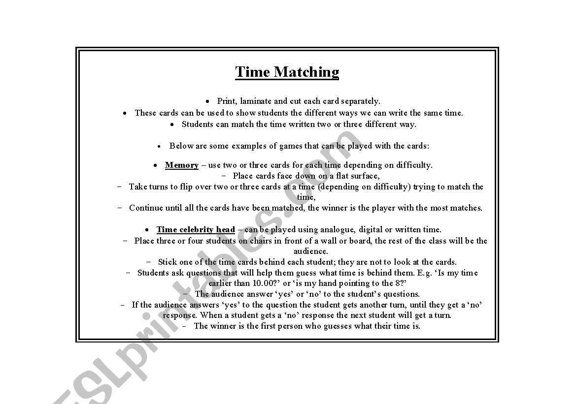 English Worksheets Time