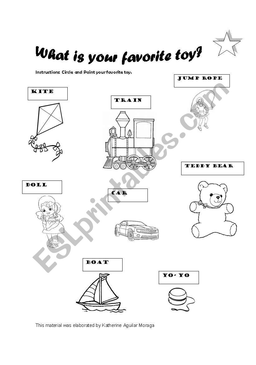 English worksheets: My toys: a quick activity for 8 year