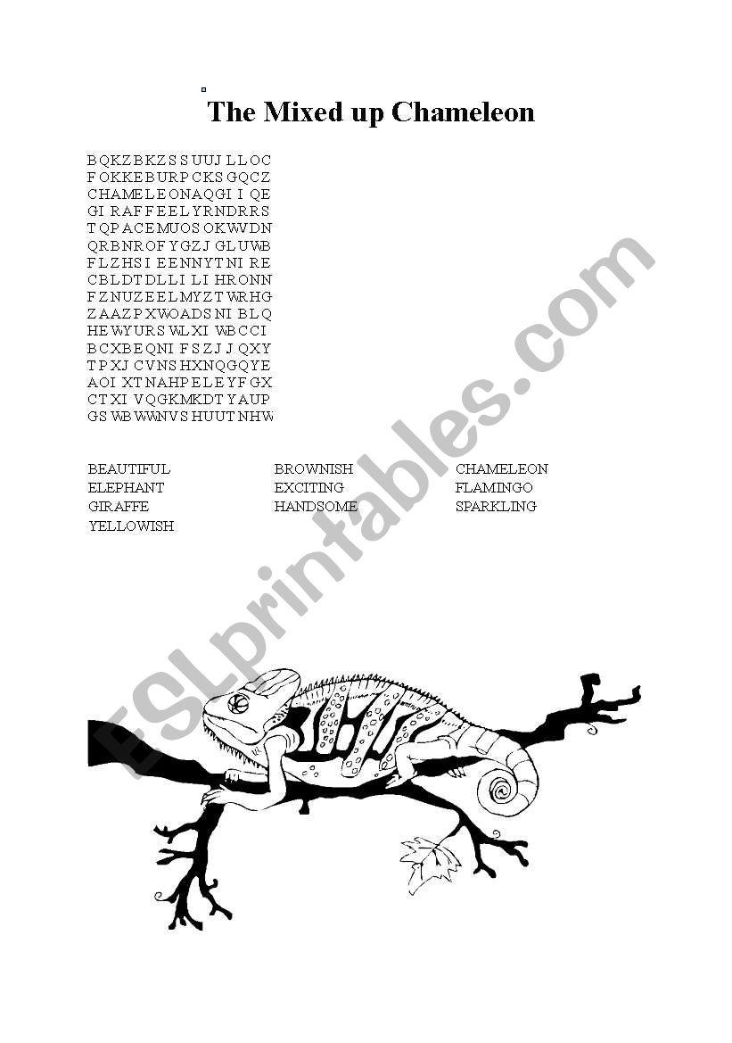 English worksheets: mixed up chameleon