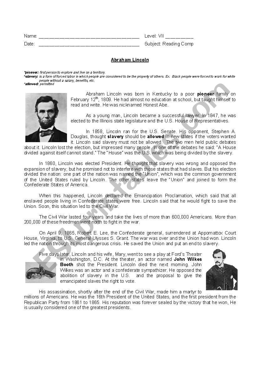 medium resolution of Abraham Lincoln´s biograohy - ESL worksheet by yamnef