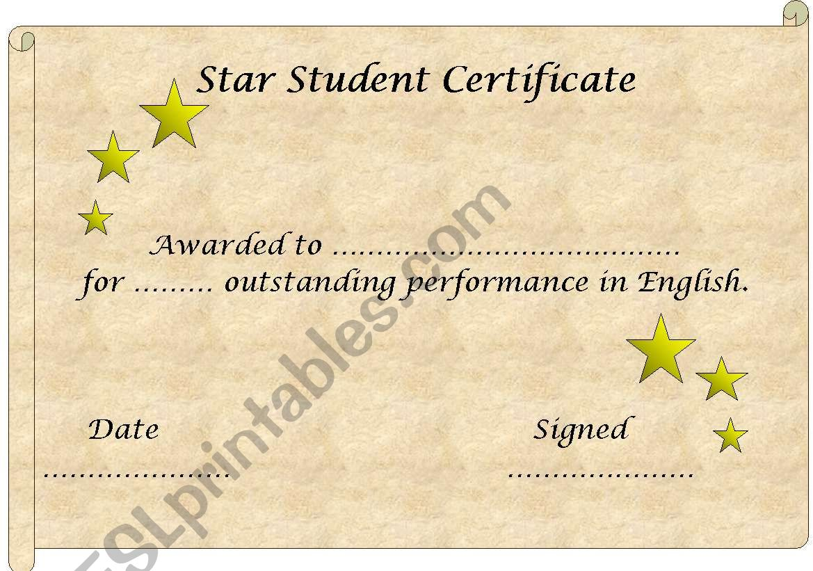 English Worksheets Star Student Certificate Template