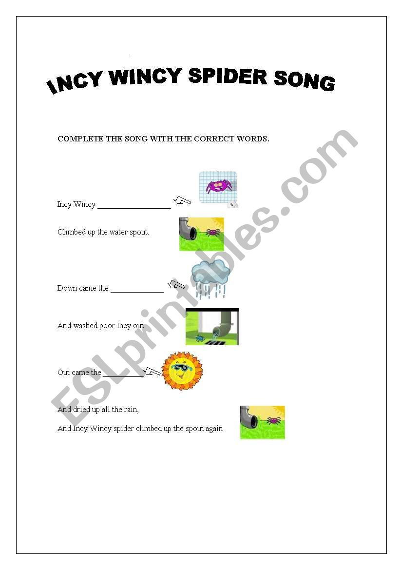English worksheets: Incy Wincy Spider