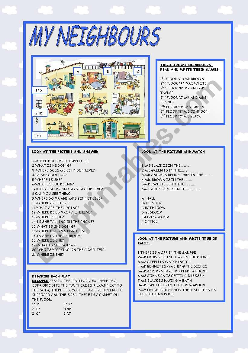 hight resolution of MY NEIGHBOURS - ESL worksheet by ag23