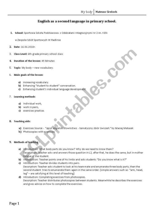 small resolution of Lesson plan - My Body - ESL worksheet by mateuszgreloch
