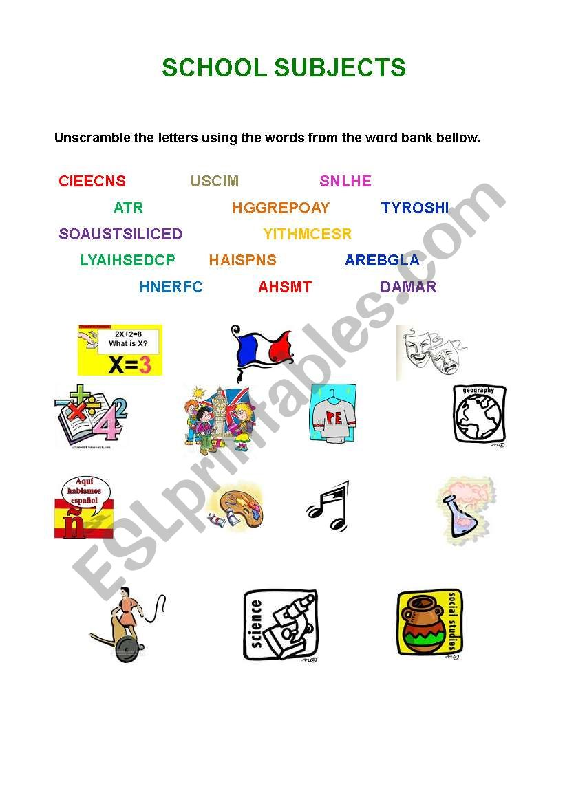 English worksheets School subjects Unscramble the letters