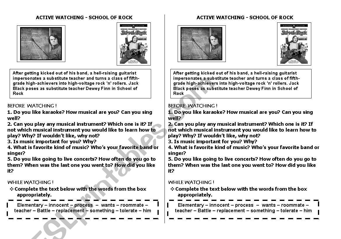 Activity About The Movie School Of Rock