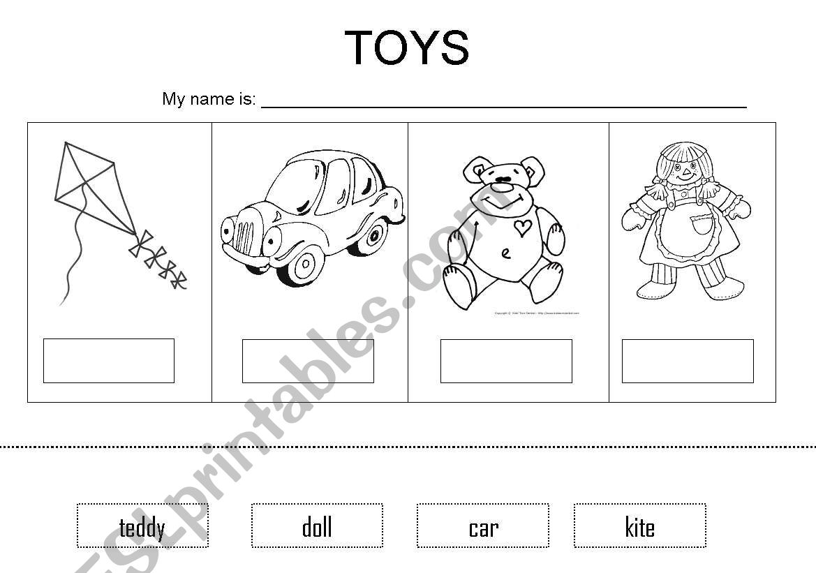 English Worksheets Toys Vocabulary