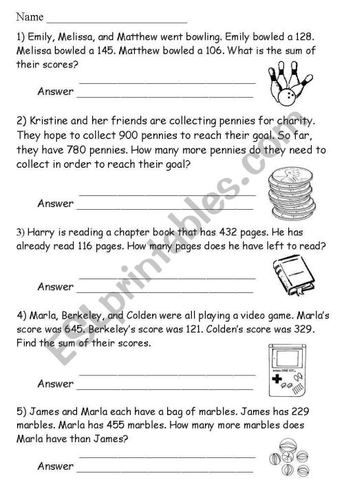 small resolution of math word problems - ESL worksheet by noonninhell