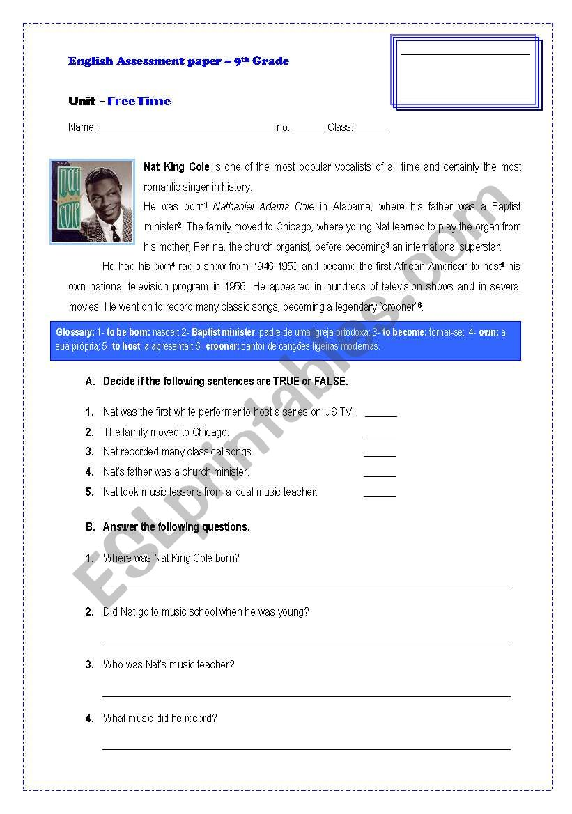 medium resolution of Assessement Paper-9th Grade - ESL worksheet by GRUPO