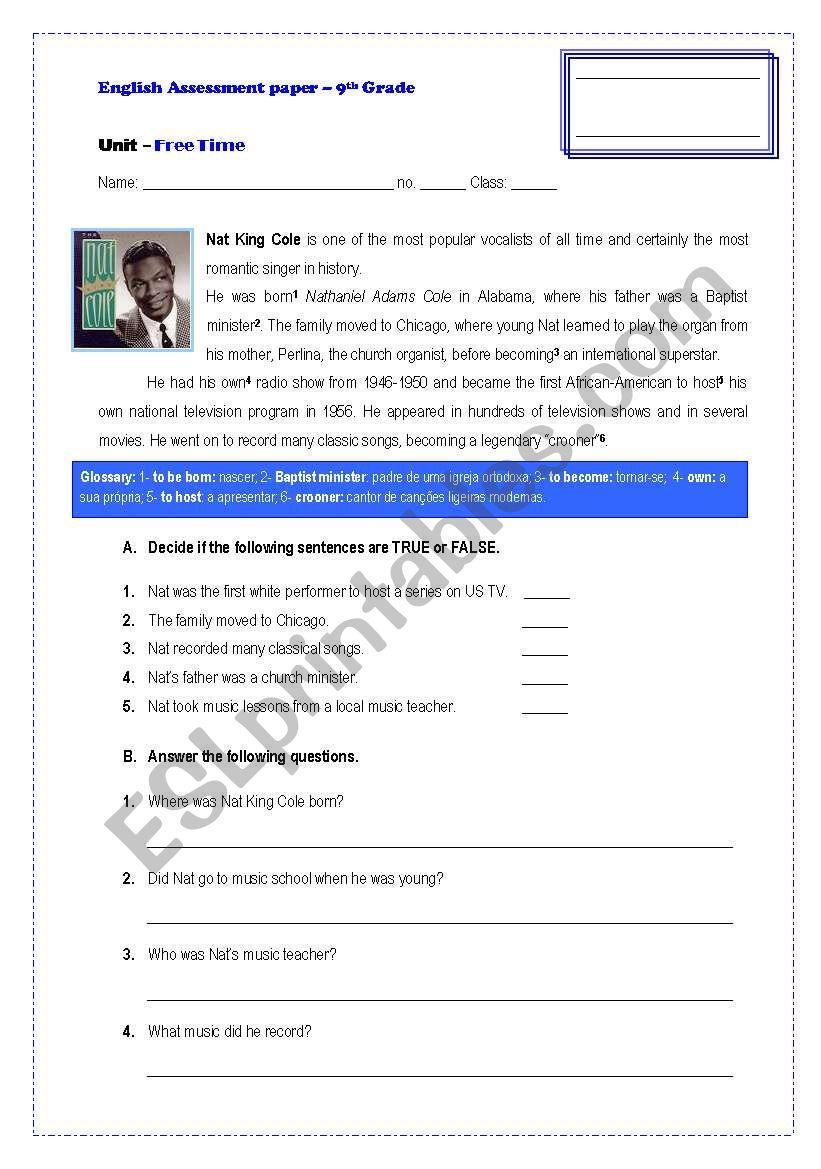 hight resolution of Assessement Paper-9th Grade - ESL worksheet by GRUPO