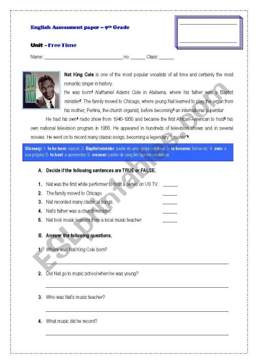 small resolution of Assessement Paper-9th Grade - ESL worksheet by GRUPO