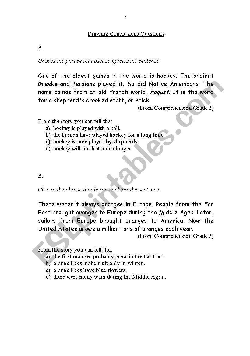 hight resolution of English worksheets: Drawing Conclusions Questions