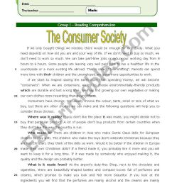 The Consumer Society (11th grade) + correction - ESL worksheet by Orihime [ 1169 x 821 Pixel ]