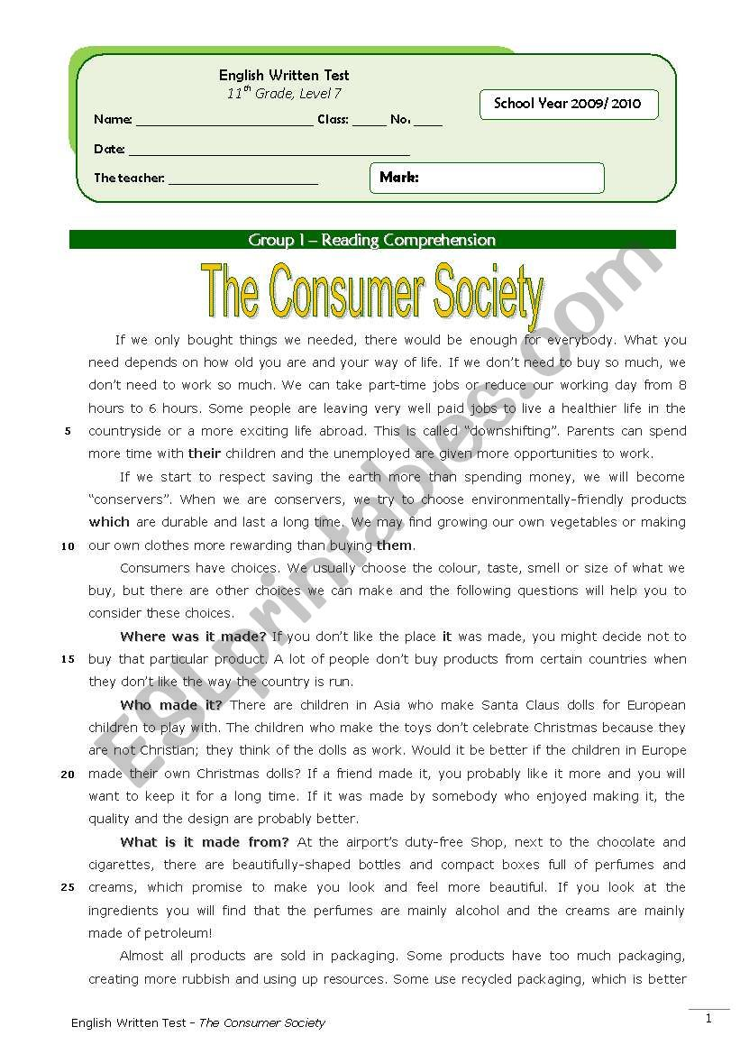 hight resolution of The Consumer Society (11th grade) + correction - ESL worksheet by Orihime