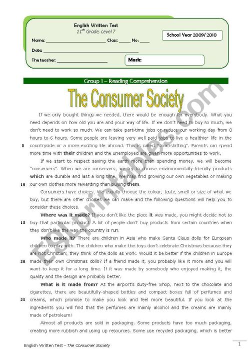 small resolution of The Consumer Society (11th grade) + correction - ESL worksheet by Orihime