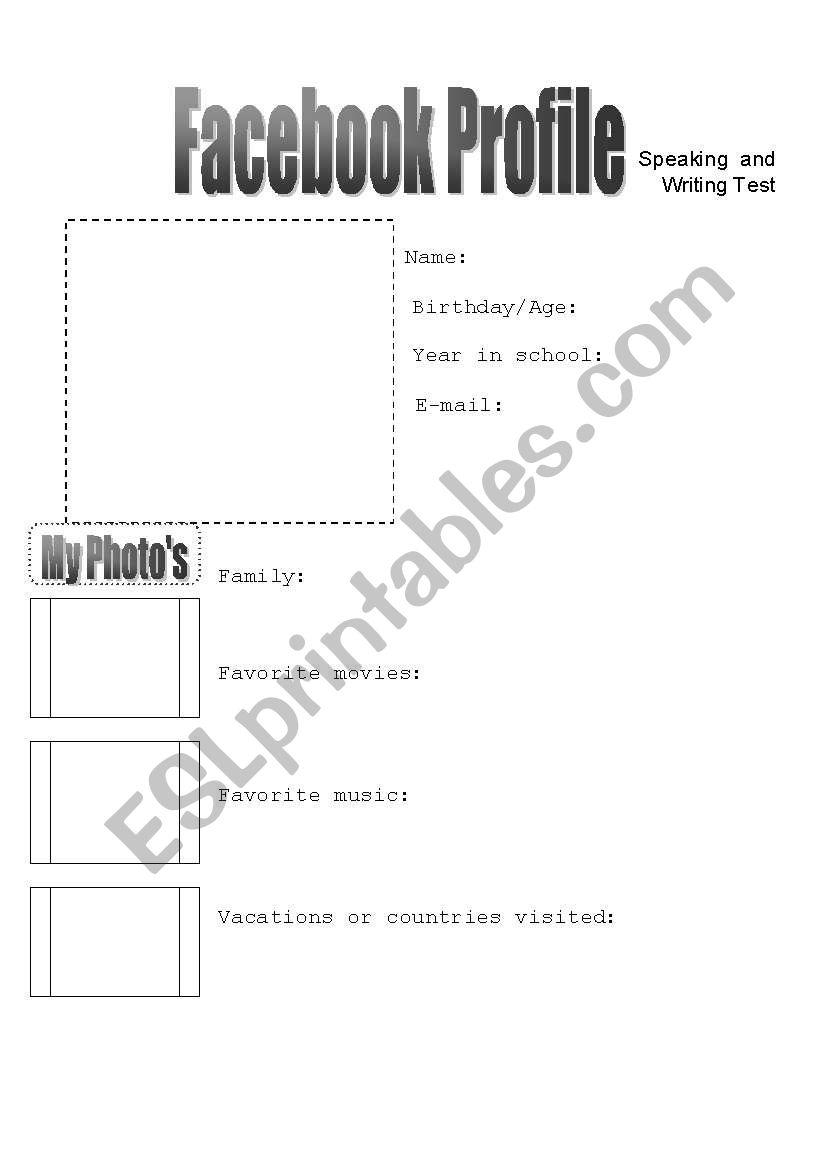 English worksheets: Facebook profile-class intro