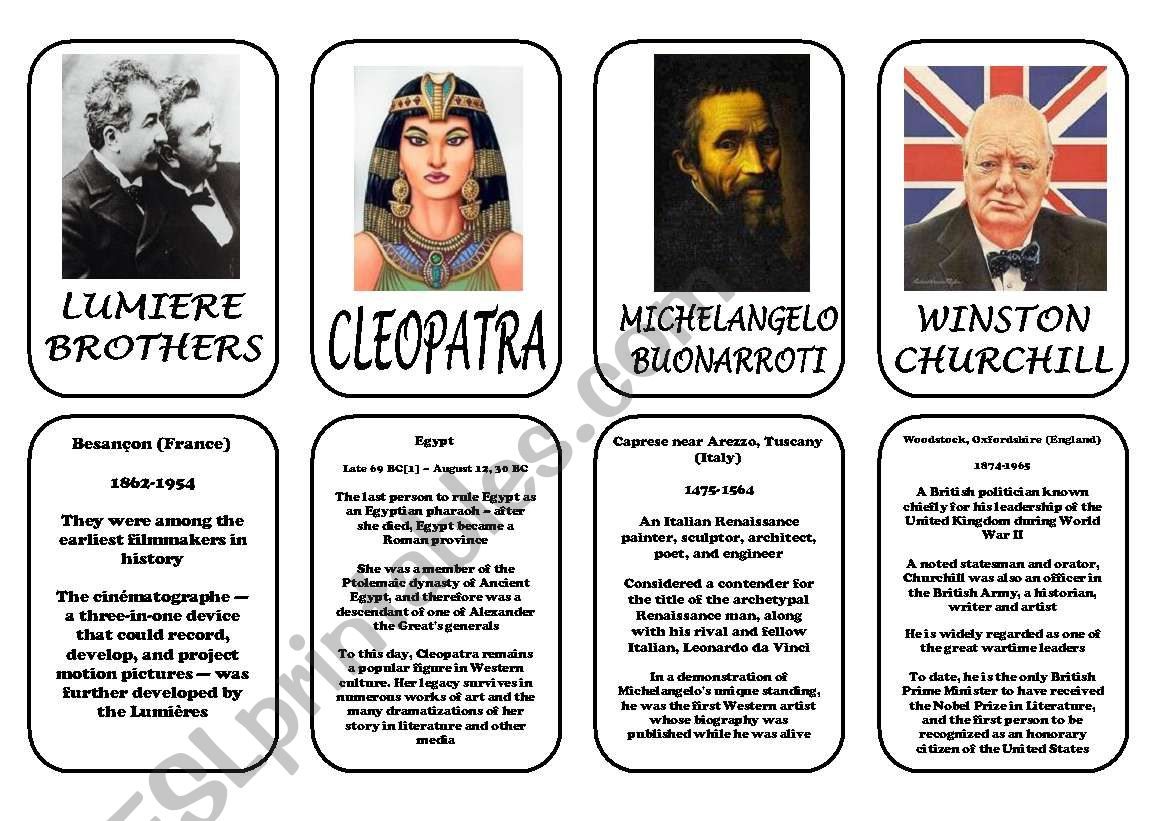 Famous People Speaking Cards Was Were Part 6