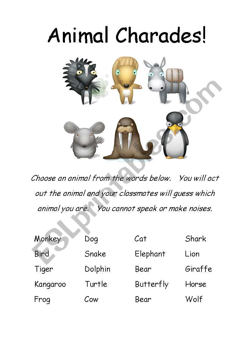 English worksheets: animals charade