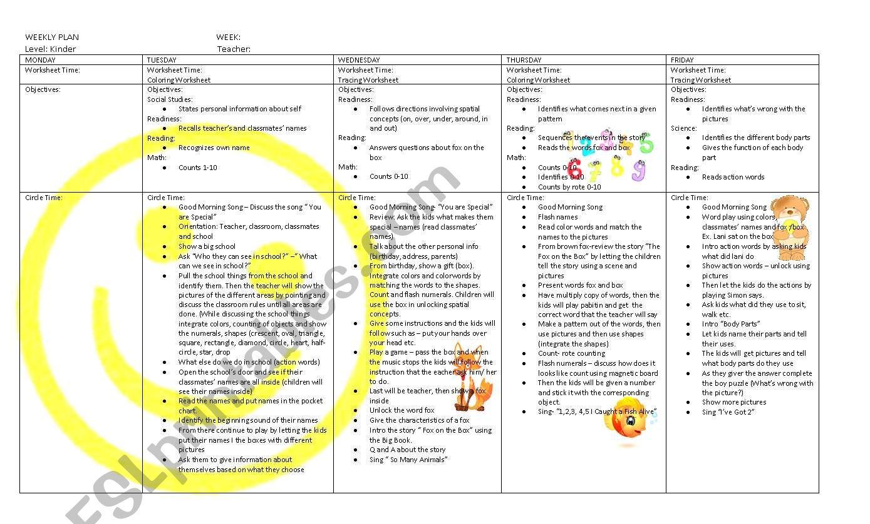 Weekly Plan Sample