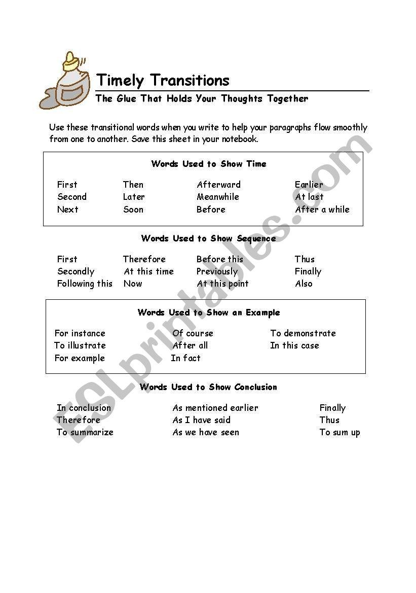 medium resolution of Transition Words - ESL worksheet by mdelreal214