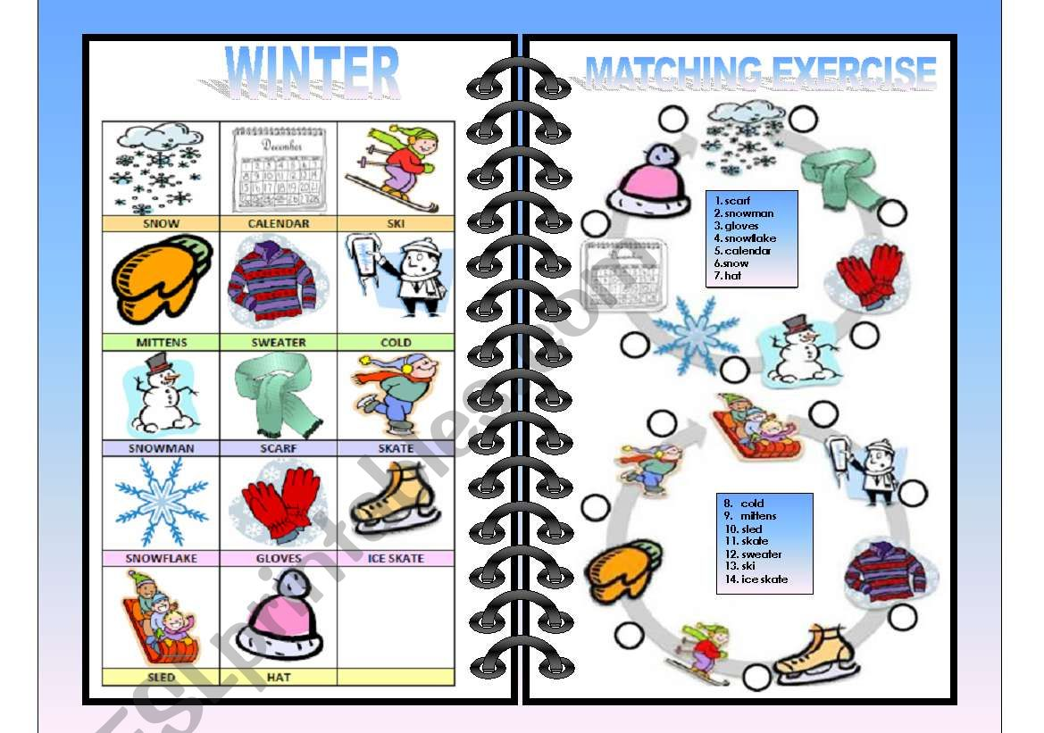 Seasons Pictionary And Matching All In One Winter 1 4