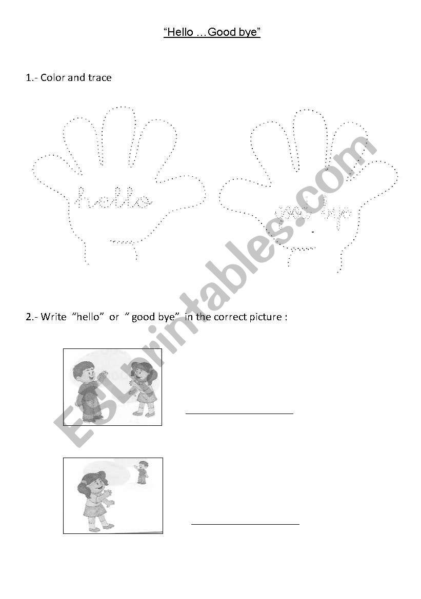 English worksheets: Saying hello and goodbye