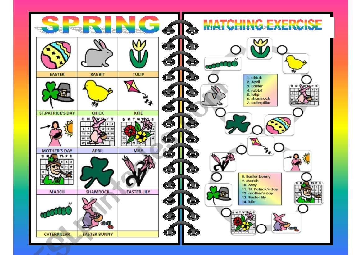 Seasons Pictionary And Matching All In One Spring 4 4