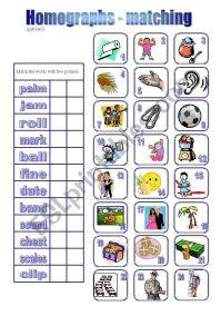Homographs - matching2 - ESL worksheet by piszke