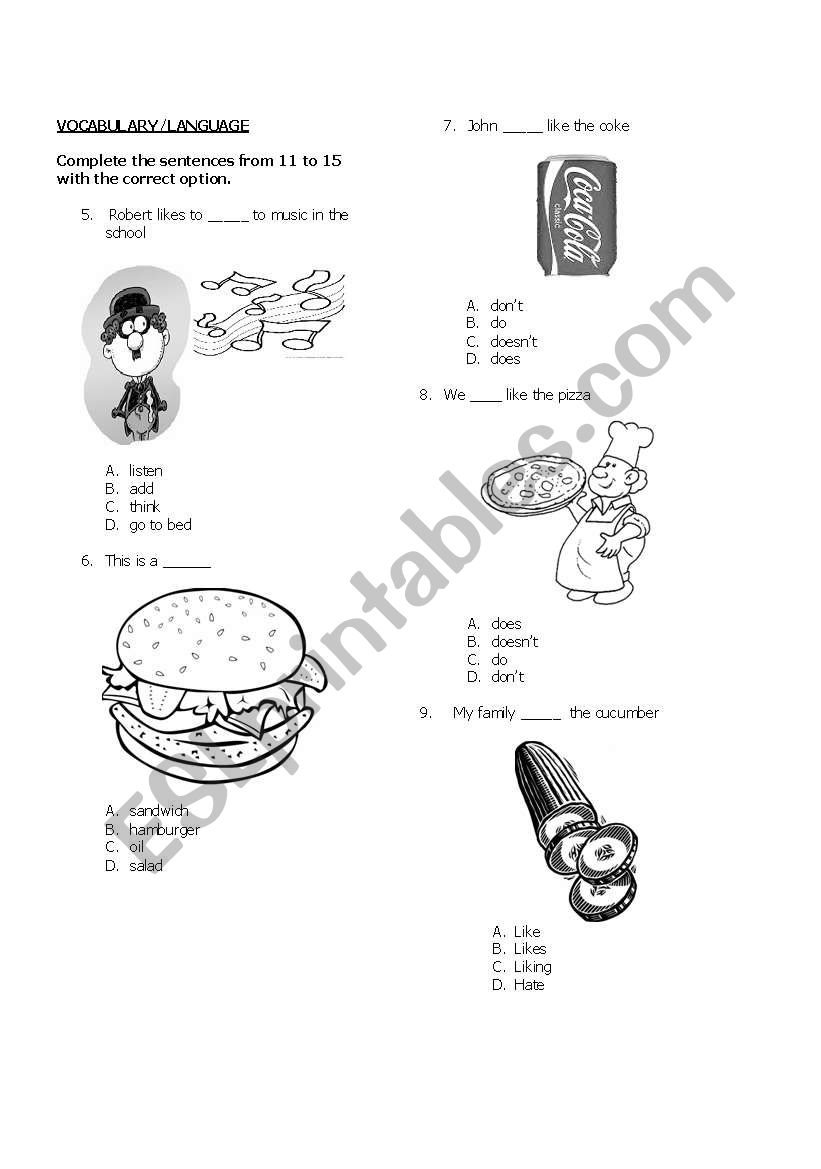 English worksheets: THIRD PART OF ENGLISH TEST FOR 5TH GRADE