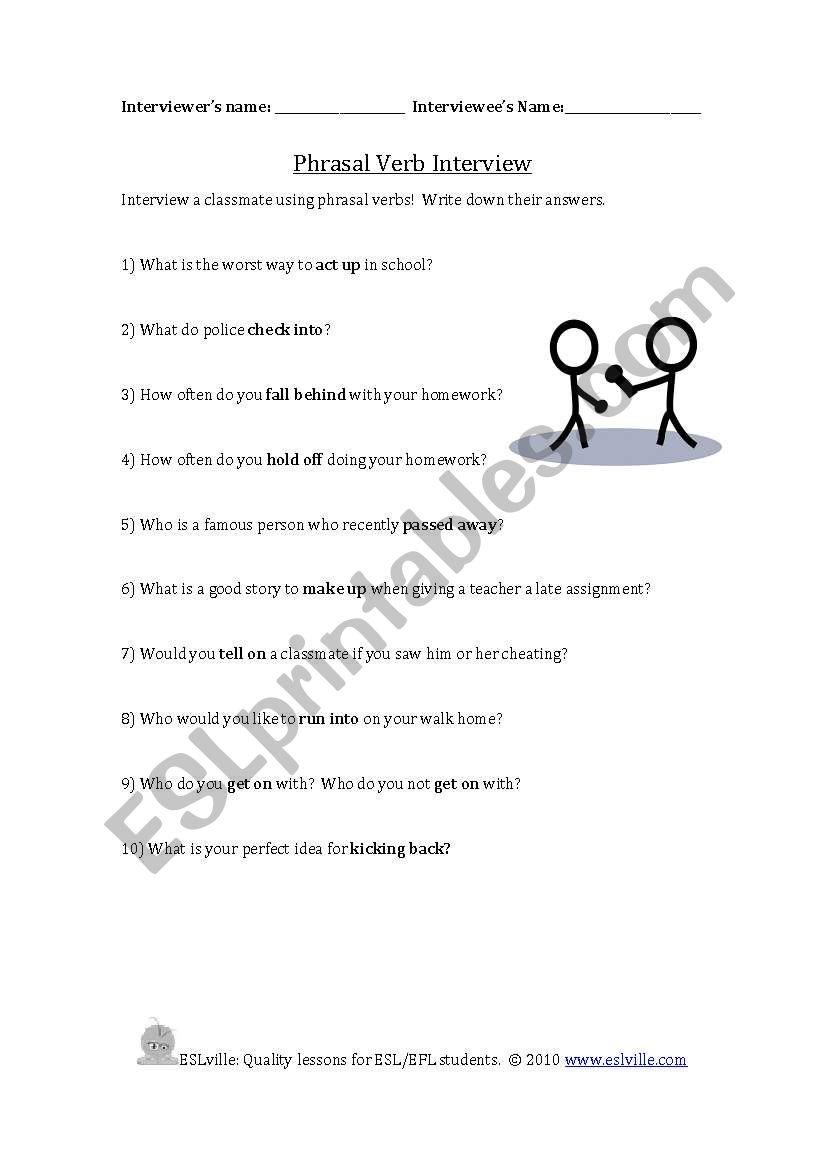 English worksheets: Phrasal Verbs Conversation