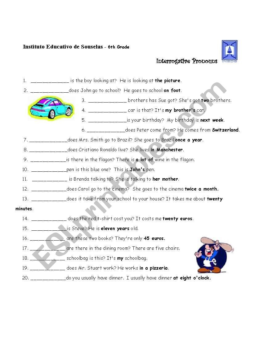 hight resolution of Interrogative Pronouns - ESL worksheet by lhmoniz