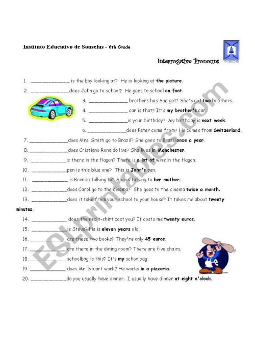 small resolution of Interrogative Pronouns - ESL worksheet by lhmoniz