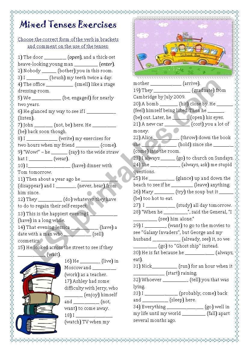 medium resolution of Mixed Tenses Exercises (key included) - ESL worksheet by ukonka