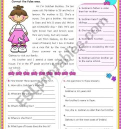 Meet Siobhan´s family (Simple Present) - Reading Comprehension leading to  Writing - ESL worksheet by mena22 [ 1169 x 821 Pixel ]