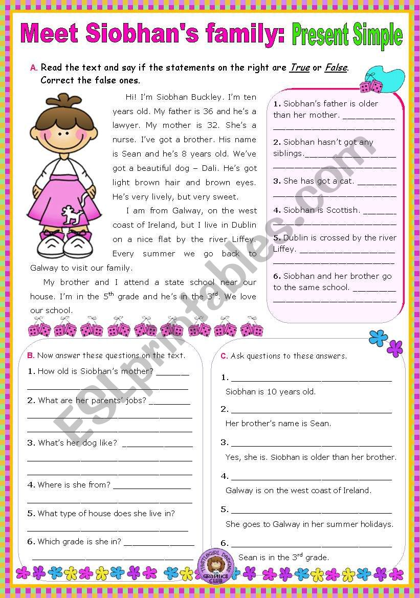 hight resolution of Meet Siobhan´s family (Simple Present) - Reading Comprehension leading to  Writing - ESL worksheet by mena22