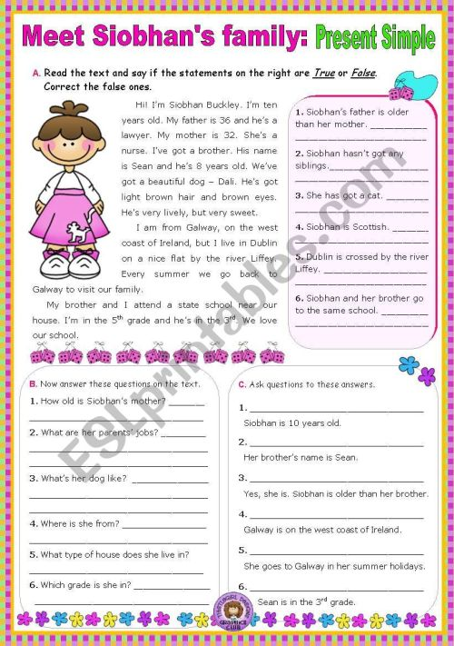 small resolution of Meet Siobhan´s family (Simple Present) - Reading Comprehension leading to  Writing - ESL worksheet by mena22