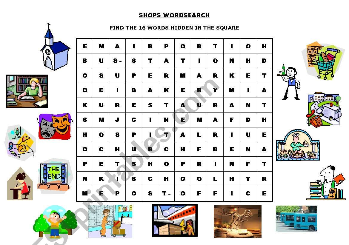 Shops Wordsearch