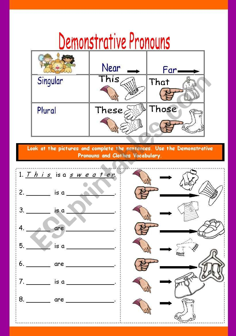 hight resolution of DEMONSTRATIVE PRONOUNS WITH CLOTHES - ESL worksheet by fortina99