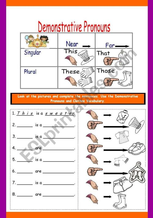 small resolution of DEMONSTRATIVE PRONOUNS WITH CLOTHES - ESL worksheet by fortina99